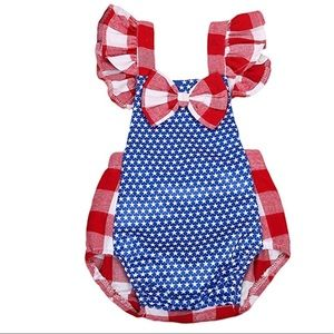 Other - Baby Girls American Flag Bow Romper